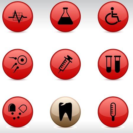 spermatozoon: Medical set of round glossy icons. Illustration