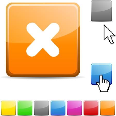 abort: Cross glossy vibrant web icon.