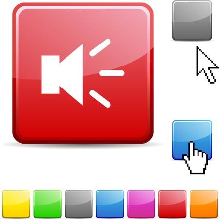 Sound glossy vibrant web icon.  Vector