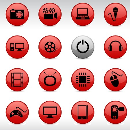 Multimedia set of round glossy icons. Stock Vector - 7099298