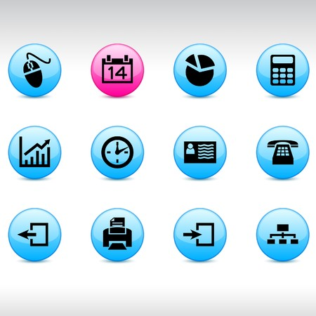 calendar icons: Office set of round glossy icons.