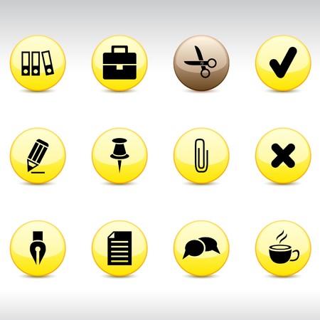 Office set of round glossy icons. Ilustração Vetorial