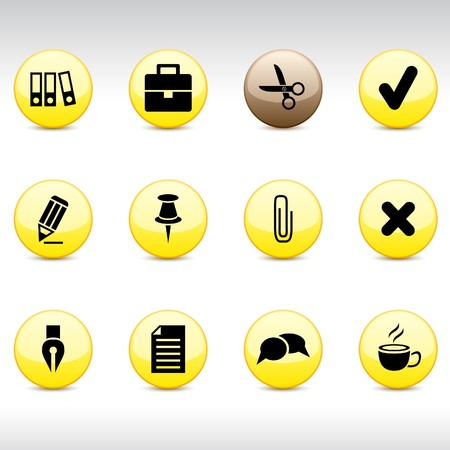 push pin icon: Office set of round glossy icons.