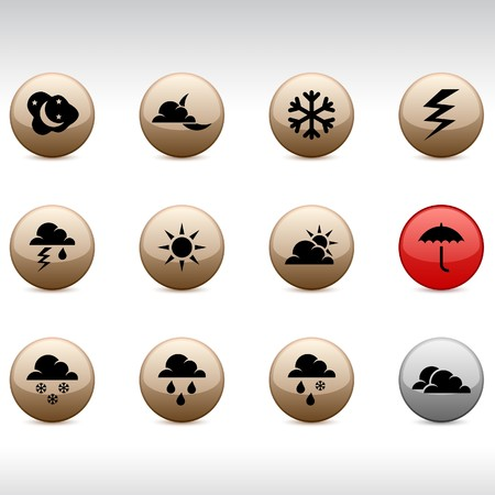 Weather set of round glossy icons. Stock Vector - 7099296