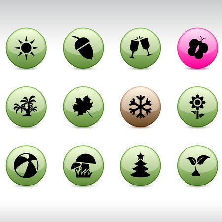 Seasons set of round glossy icons. Stock Vector - 7104533