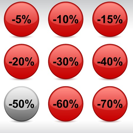 Discount set of round glossy icons. Vector
