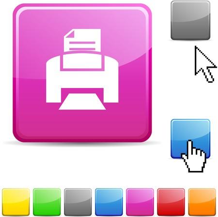 printer icon: Print glossy vibrant web icon.