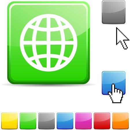 Earth glossy vibrant web icon. Stock Vector - 7107649
