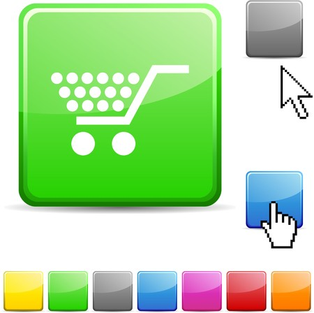 Shopping glossy vibrant web icon.  Vector