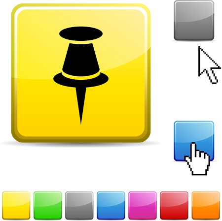 Drawing-pin glossy vibrant web icon. Stock Vector - 7107648