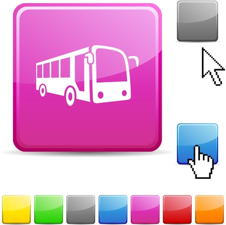 red bus: Bus glossy vibrant web icon.