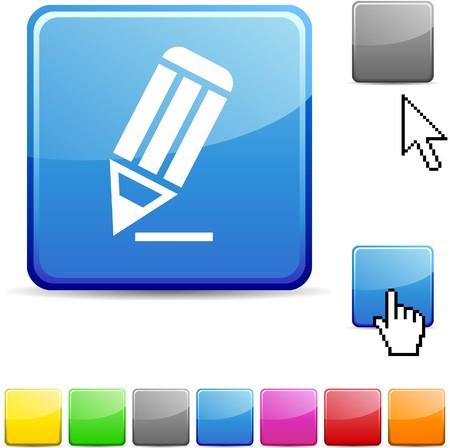 push button: Pencil glossy vibrant web icon.  Illustration