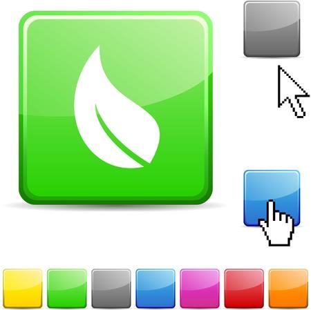 Ecology glossy vibrant web icon.  Vector