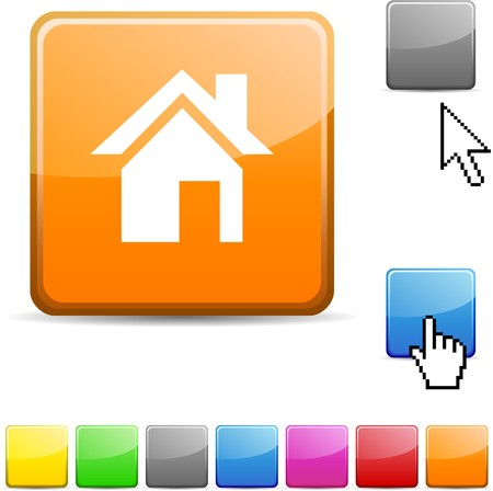 arrow home: Home glossy vibrant web icon.