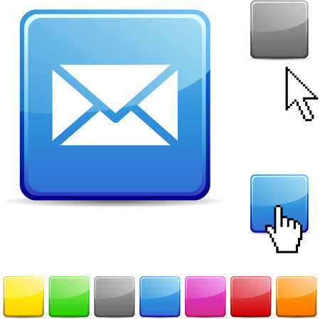 set square: mail glossy vibrant web icon.