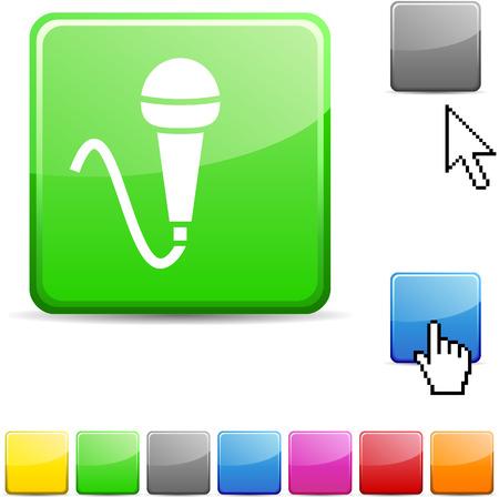Mic glossy vibrant web icon.  Stock Vector - 7107709
