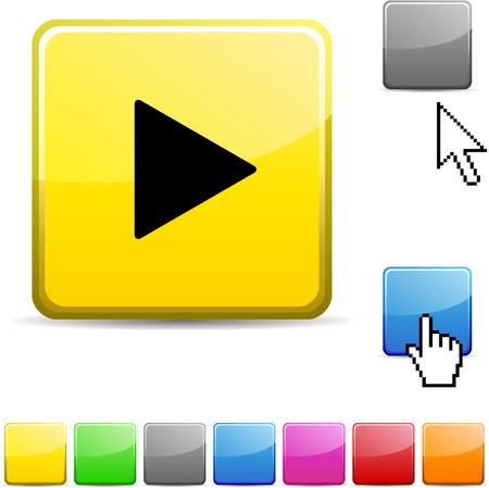 bouton brillant: Jouer ic�ne web dynamique sur papier glac�.  Illustration