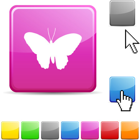 Butterfly glossy vibrant web icon.  Vector