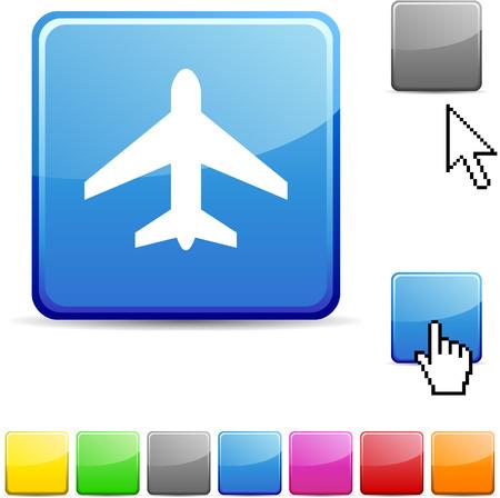 Aircraft glossy vibrant web icon.  Stock Vector - 7107703