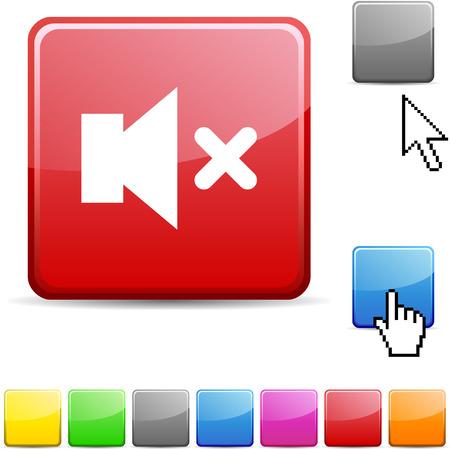Mute glossy vibrant web icon. Stock Vector - 7107702