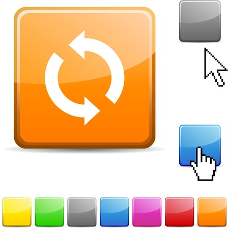 opfrissen: Glanzende levendige web pictogram Vernieuwen.  Stock Illustratie