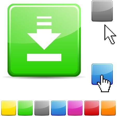 Download glossy vibrant web icon.  Vector