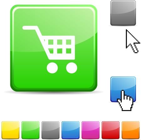 Buy glossy vibrant web icon.  Vector