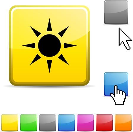 Sun glossy vibrant web icon. Stock Vector - 7114741