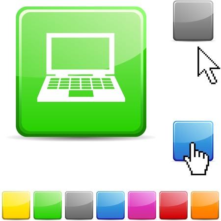 Notebook glossy vibrant web icon.  Stock Vector - 7123793
