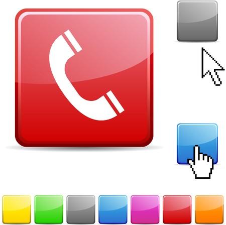 Telephone glossy vibrant web icon.  Stock Vector - 7123740