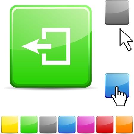 Exit glossy vibrant web icon. Stock Vector - 7123738