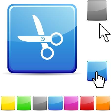 square cut: scissors glossy vibrant web icon.