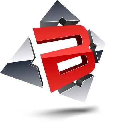 emblem red: Illustration of B 3d design element.