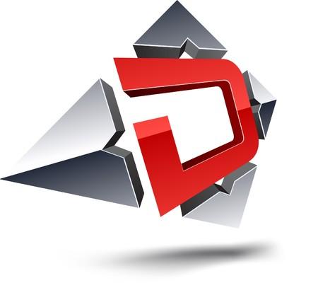 d: Illustration of D 3d design element.  Illustration