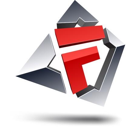 Illustration of F 3d design element. Stock Vector - 7123737