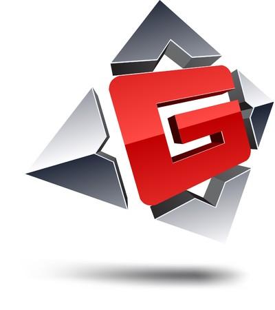 internet logo: Illustration of G 3d design element.