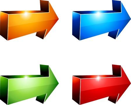 flecha azul: Flechas vibrantes 3D. ilustraci�n.