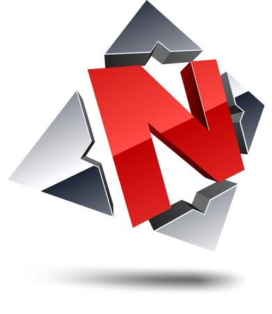 letter n: Illustration of N 3d