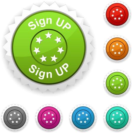 Sign up award button. Vector