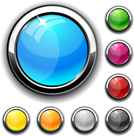 Collection of glossy buttons. Vector illustration.  Vector