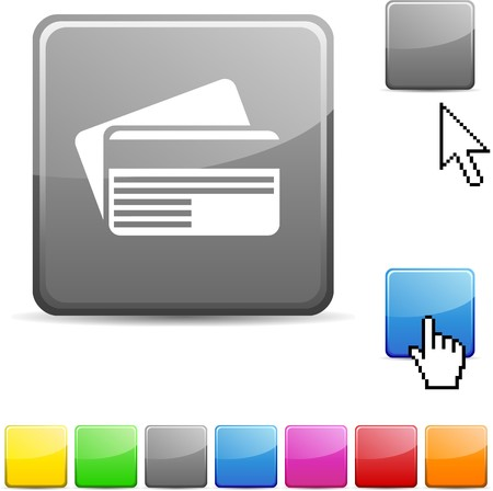 Card glossy vibrant web icon.  Stock Vector - 7126949