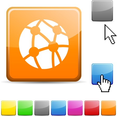 Network glossy vibrant web icon. Stock Vector - 7126957
