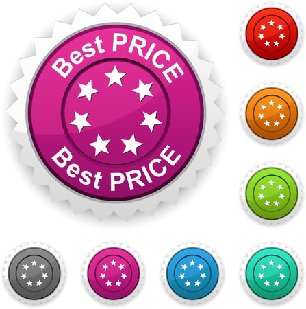 Best price award button.   Vector