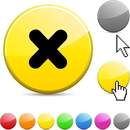 abort: Cross glossy vibrant round icon.