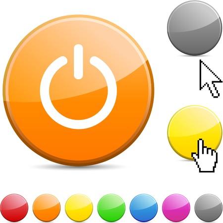 hands off: Icono de ronda vibrante brillante en switch.  Vectores