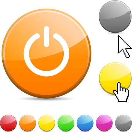 Switch glossy vibrant round icon.  Vector