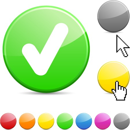 Check glossy vibrant round icon.  Stock Vector - 7156264