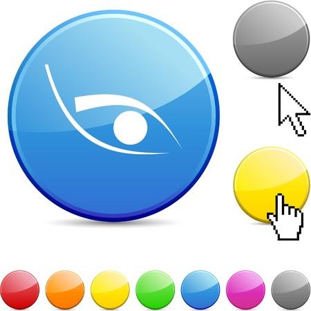 red eye: Eye  glossy vibrant round icon.  Illustration