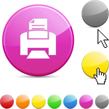 Print  glossy vibrant round icon.  Vector