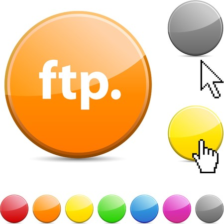 FTP glossy vibrant round icon. Stock Vector - 7156270